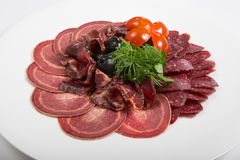 Ham, salami and different sorts meat Stock Photo