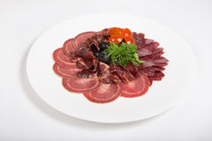 Ham, salami and different sorts meat Royalty Free Stock Photos