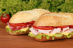 Ham and salami sandwich Stock Images