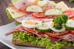 Ham- and Salami Sandwich Stock Images