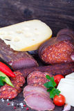 Ham, salami, sausages and cheese Royalty Free Stock Photography