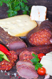 Ham, salami, sausages and cheese Stock Photography