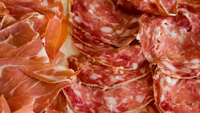 Ham and salami slices Royalty Free Stock Photo