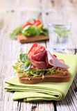 Ham and salami on toast Royalty Free Stock Photo