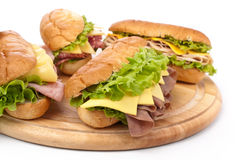 Ham, salami, turkey and beef sandwiches Stock Image