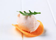 Ham or salmon mousse on crisp Stock Photo