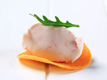 Ham or salmon mousse on crisp Stock Images