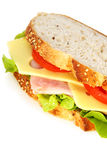 Ham Sandwich. On wholewheat sourdough bread, with swiss cheese, tomatoes and lettuce Stock Image