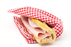 Ham Sandwich. On tablecloth isolated Stock Images