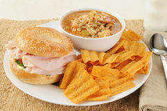 Ham sandwich with chicken gumbo Royalty Free Stock Images