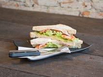 Ham sandwich. Breakfast in morning with ham sandwich stock photos