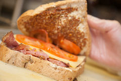 Ham sandwich in a cafeteria Royalty Free Stock Photos