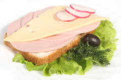 Ham sandwich with cheese Royalty Free Stock Images