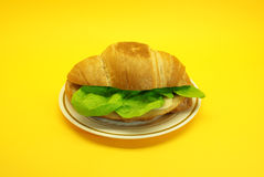 Ham sandwich with cheese and lettuce. Cake ham with cheese and lettuce , served on a plate Stock Images