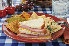 Ham sandwich with chips Royalty Free Stock Images