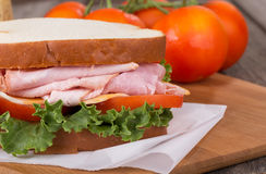 Ham Sandwich Closeup Royalty Free Stock Images