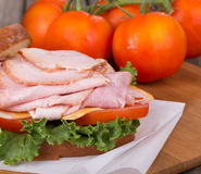 Ham Sandwich Closeup Royalty Free Stock Photo
