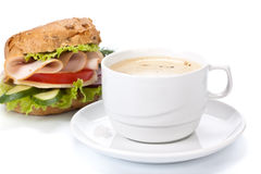Ham sandwich and cup of coffee Royalty Free Stock Photo
