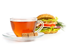Ham sandwich and cup of tea Stock Photos