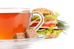 Ham sandwich and cup of tea Royalty Free Stock Photos