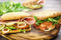 Ham sandwich. Delicious sandwich with ham and onions, a wonderful morning Breakfast Royalty Free Stock Photography