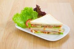 Ham sandwich on the dinning table Stock Photos