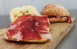 Ham sandwich iberico pata negra royalty free stock image