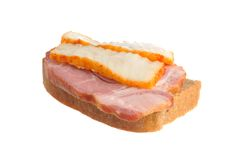 A ham sandwich with lard isolated on white Royalty Free Stock Images