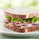 Ham sandwich with lettuce and mayo Stock Photo