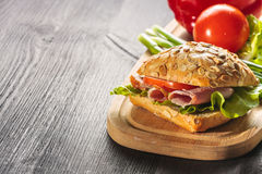 Ham sandwich with lettuce Royalty Free Stock Image