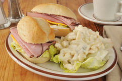 Ham sandwich and macaroni salad Stock Photos