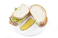 Ham Sandwich and Pickle Stock Photo