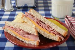 Ham sandwich on a picnic table Royalty Free Stock Photography