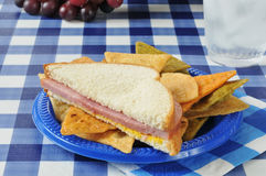 Ham sandwich on a picnic table Stock Photos