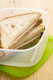 Ham sandwich in plastic box Stock Photos