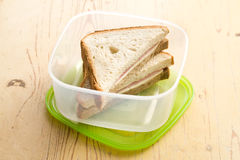 Ham sandwich in plastic box Stock Image