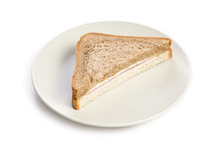 Ham sandwich on plate Stock Photo