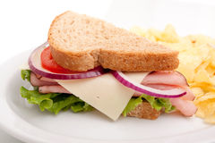 Ham sandwich platter with potato chips Royalty Free Stock Image