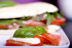Ham sandwich served in restaurant Royalty Free Stock Image