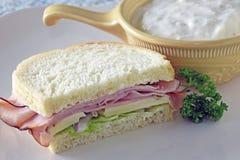 Ham Sandwich With Soup Fotos de archivo libres de regalías