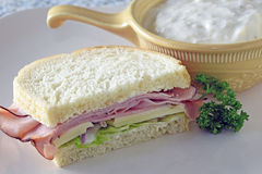 Ham Sandwich With Soup Royalty Free Stock Photos