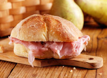 Ham sandwich on the table Royalty Free Stock Photos