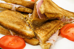 Ham sandwich with tomatoes  Stock Images