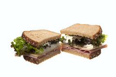Ham sandwich on wheat. Royalty Free Stock Photography
