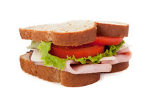 A ham sandwich on wheat on a white background Stock Photography