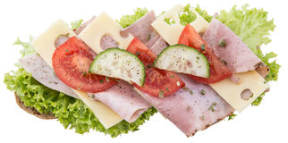 Ham Sandwich on white Stock Photo