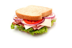 Ham sandwich on whole wheat bread Royalty Free Stock Photo