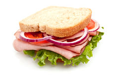 Ham sandwich on whole wheat bread Stock Images