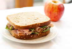 Ham Sandwich On Whole Wheat Bread Royalty Free Stock Photography