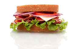 Ham sandwich on whole wheat bread Royalty Free Stock Photos